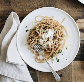 Whole-Wheat Spaghetti with Buttery Leeks, Lemon, and Crème Fraîche
